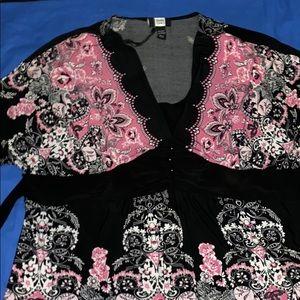 EUC  Black, pink and white blouse.